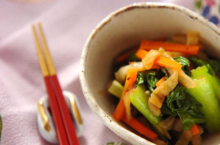 XO醤が入ってコクのあるピリ辛味に。クラゲとチンゲンサイの中華和え[中華/前菜]2008.03.10公開のレシピです。