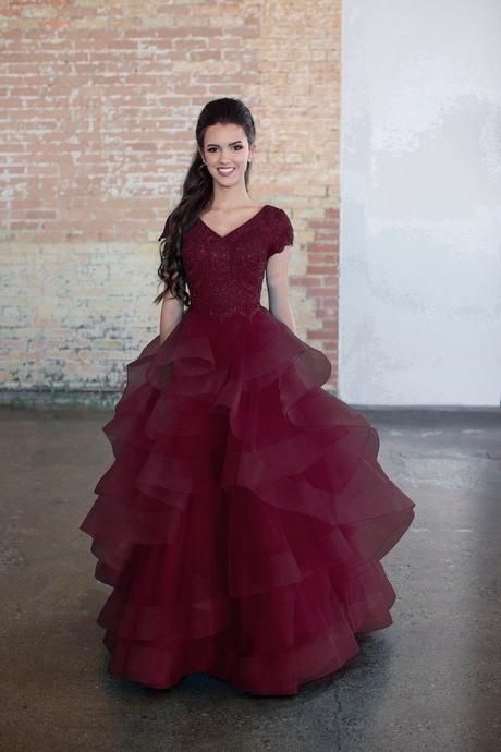 Tiered ruffled modest prom dress with cap sleeves – ! ♕ Buyable Pins ♕