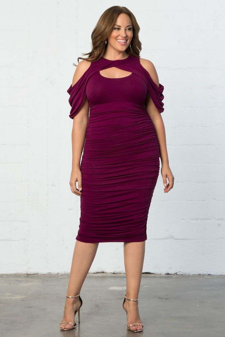 You can't get sexier than a flattering bodycon and a draped cold shoulder sleeve. Our plus size Bianca Ruched Dress features this, along with a keyhole cut-out for the perfect date night style. Shop our entire made in the USA collection online at www.kiyonna.com.