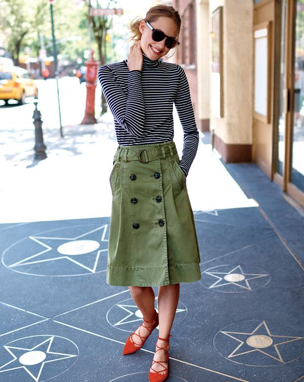 The J.Crew women's chino trench skirt. The material of your favorite pants, now in this beyond-adorable skirt.