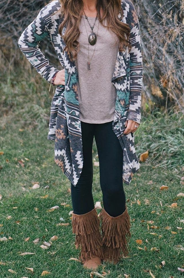 100  ideas to try about outfit with fringe boots   Aztec cardigan ...