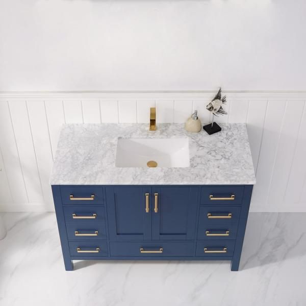 Roswell Shannon 48 In Bath Vanity In Blue With Carrara Marble Vanity Top In White With White Basin 885048p Rb Can The Home Depot Marble Vanity Tops Modern Bathroom Accessories White Marble Countertops