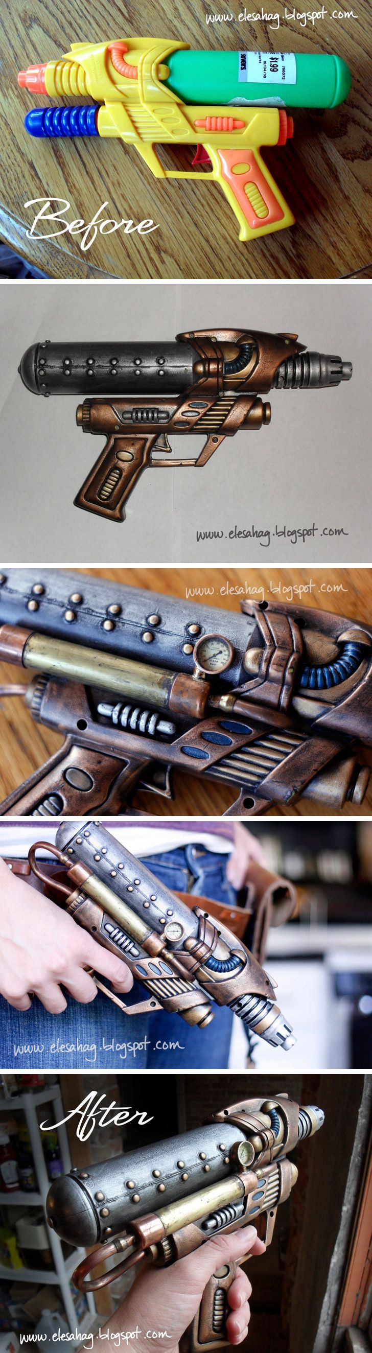 The link doesn't seem to work but the photos are good reference to follow. How to steampunk a water gun. soo cool! Probably painted black and colored with rub and buff. #steampunk #fashion #ideas