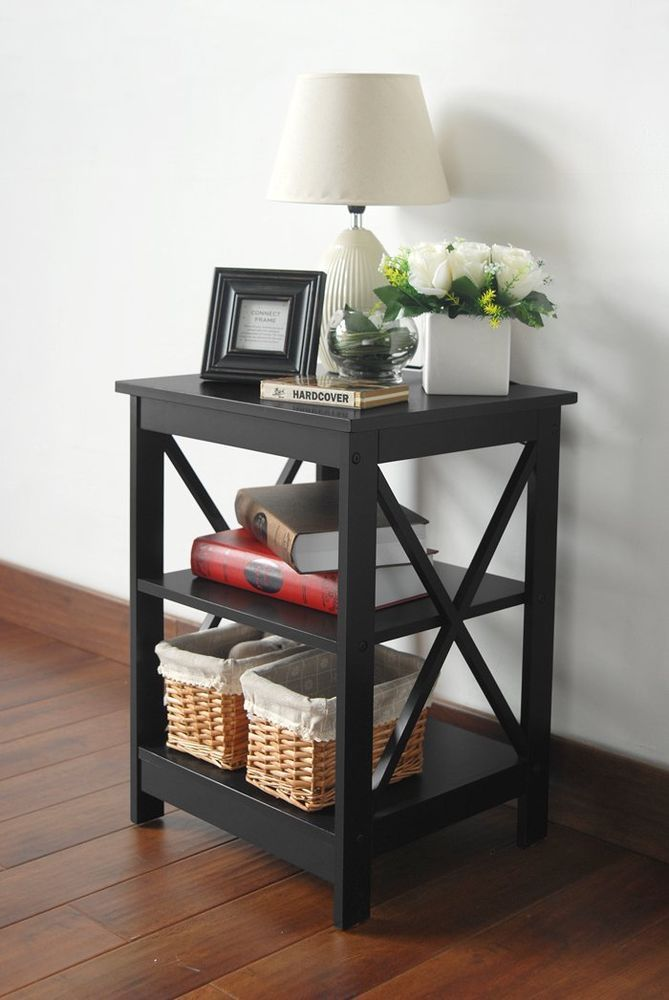 Black Finish Wooden X Design Chair Side End Table With 3 Tier