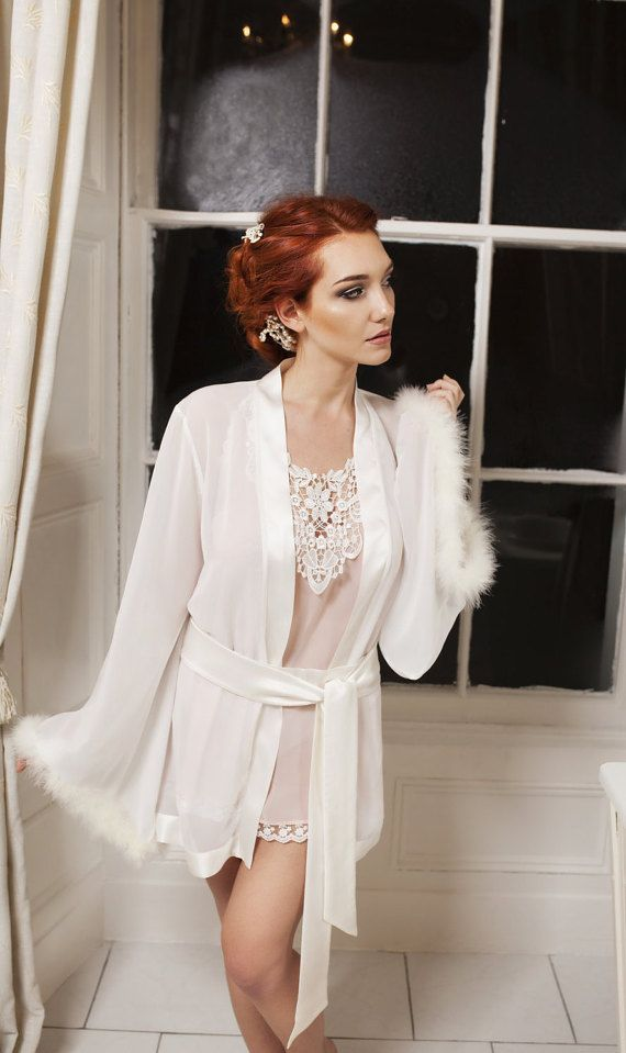 Bridal robe ivory chiffon French silk Marabou feather by Boudemia