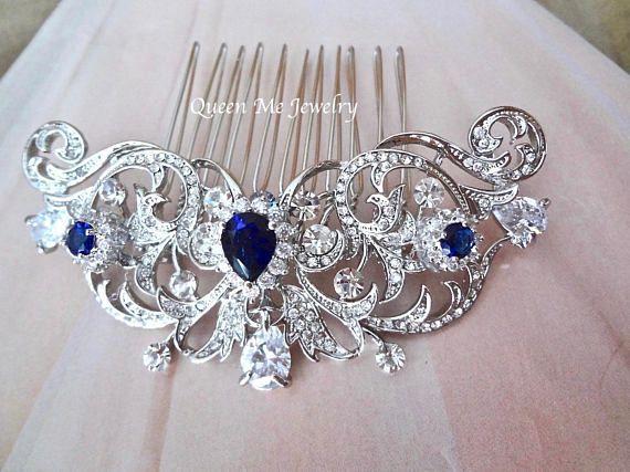Sapphire Blue Bridal Hair Comb Something Blue Wedding Hair Comb