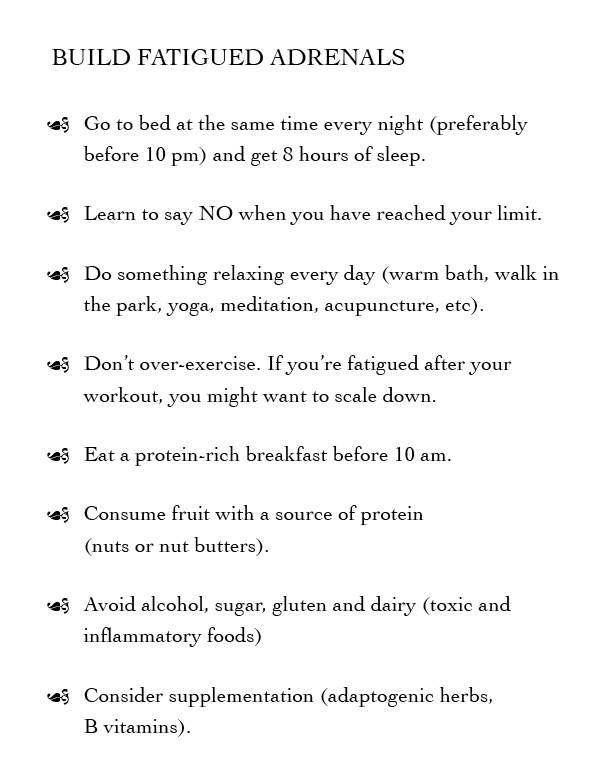 adrenal fatigue - tips on rebuilding your adrenals. Always a good reminder!