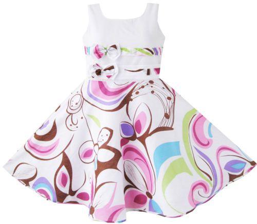 Girls Dress Purple Paisley Flower Print Double Bow Tie Kids Clothing SZ 4-12 New