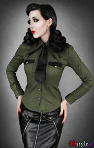 Olive green military shirt with black tie from Restyle.pl.  (Makes me want to get into diesel punk)