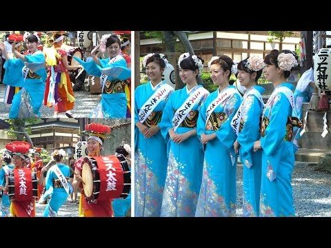 盛岡さんさ踊り 三ツ石神社で奉納演舞 ミスさんさ踊りのお披露目です♪
