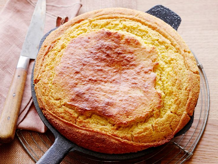 Damaris' Cast-Iron Skillet Cornbread : Damaris ditches the traditional loaf pan in favor of a skillet to prepare her go-to cornbread. Try sweetening the cornbread with sorghum, a classic Southern syrup.