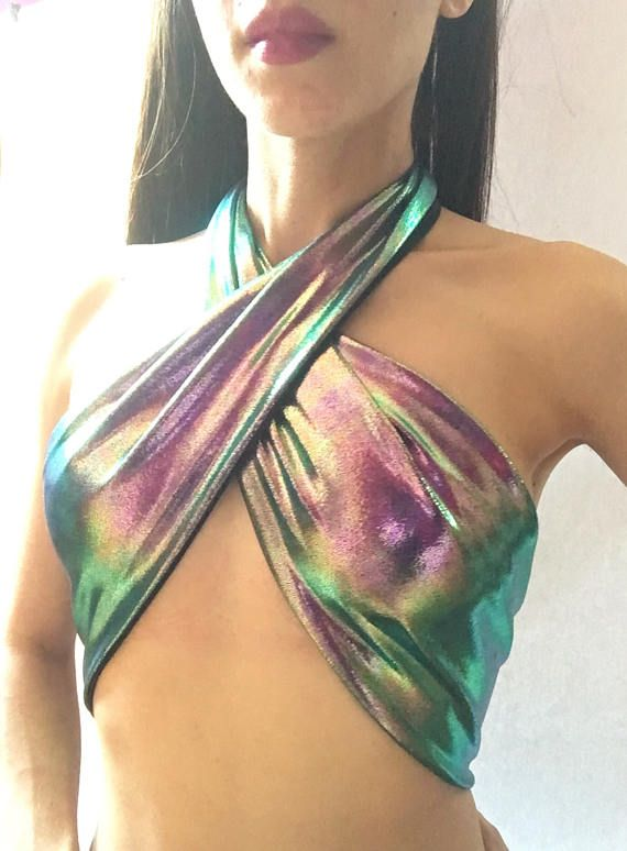 Mermaid Bikini Top // Holographic Rave Outfit // Purple Green