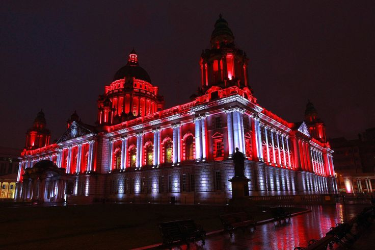 Belfast City Hall lit up red & white to mark Polish Independence Day.