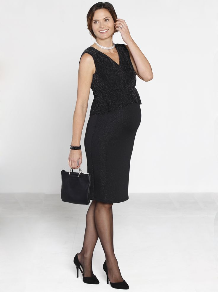 Peplum V-Neck Sparkly Evening Dress in Black, now HALF PRICE just $49.95 down from $99.95, is made from a stunning sparkly material. The V-neckline makes the most of your new cleavage with waist details to add an elegance shape.