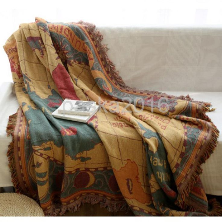 Cotton Sofa Bed Settee Throw Cover, 130X180Cm Jacquard Bedspread Rug - Map