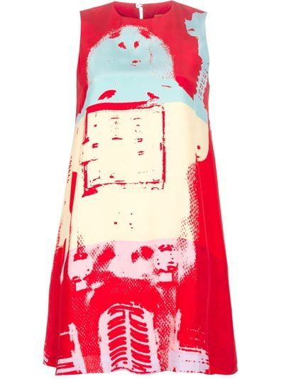 Red silk vintage A-line sleeveless dress from Stephen Spouse featuring a round neck, a button fastening at the neck to the rear, pockets to the side and a contrasting blue and yellow Andy Warhol Foundation print to the front and rear.