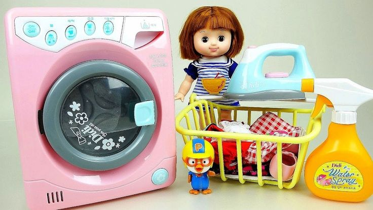 Washing machine with Baby Doll and Play Doh Ice cream maker toys - YouTube