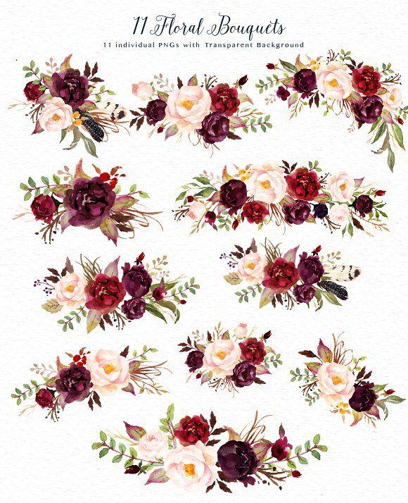 Watercolor flower Clip Art-Marsala - Illustrations