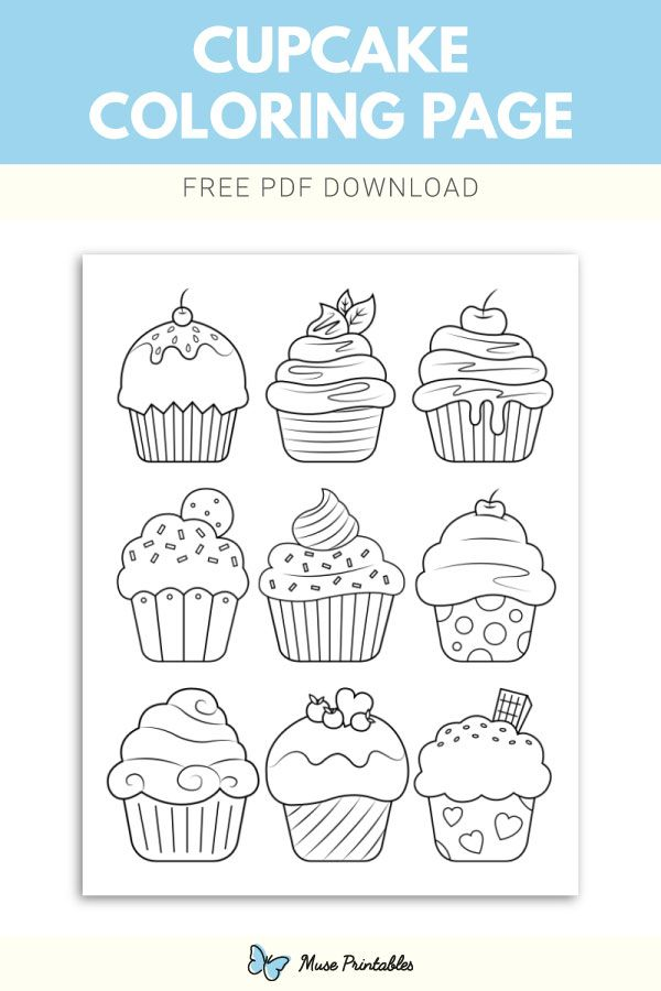 Free Cupcake Coloring Page Cupcake Coloring Pages Coloring Pages Birthday Coloring Pages