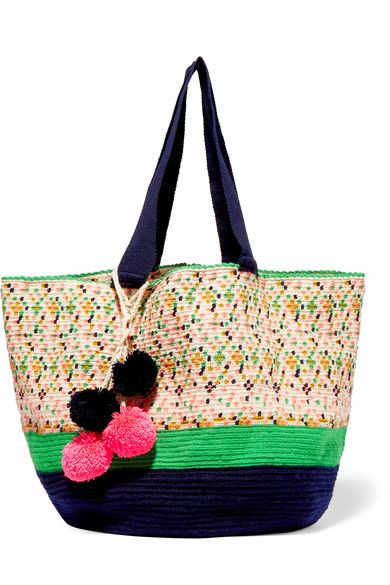 Sophie Anderson - Jonas Pompom-embellished Woven Tote - Beige - one size