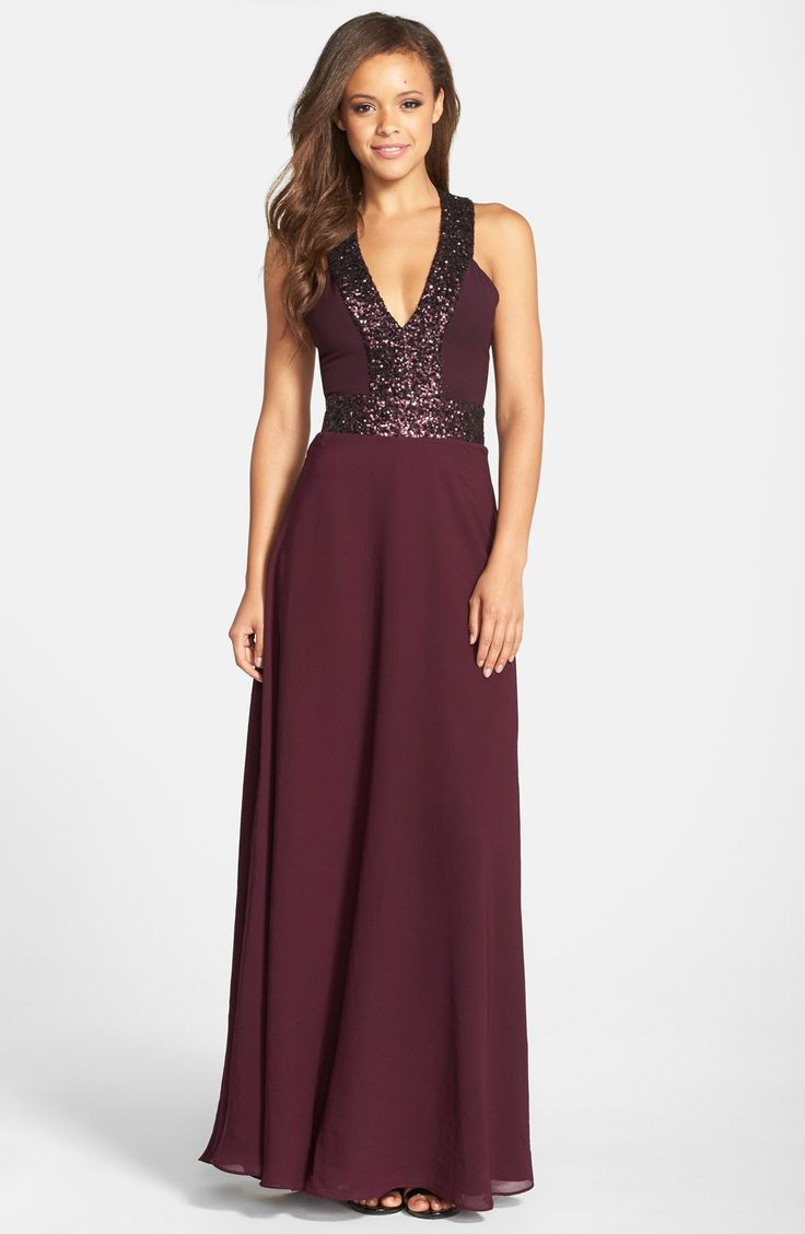 Free shipping and returns on Dress the Population 'Delani' Sequin Crepe Gown at Nordstrom.com. Twinkling sequins underscore the plunging décolletage and flattering natural waistline of this lightweight A-line gown. The blade-baring racerback adds a punch of modernity.