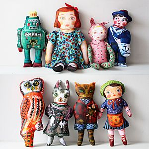 Nathalie Lete, painted fabric dolls
