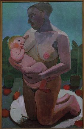Modersohn-Becker, Paula : Kneeling Mother 1907