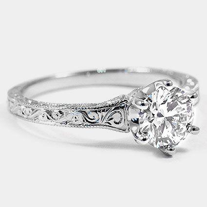 Platinum Hudson Ring // Set with a 0.88 Carat, Round, Super Ideal Cut, I Color, VS1 Clarity Lab Diamond #BrilliantEarth