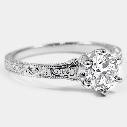 Platinum Hudson Ring // Set with a 0.88 Carat, Round, Super Ideal Cut, I Color, VS1 Clarity Lab Diamond #BrilliantEarth