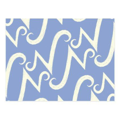 Cool N monogram pattern with blue background Postcard - calligraphy gifts unique style cyo customize