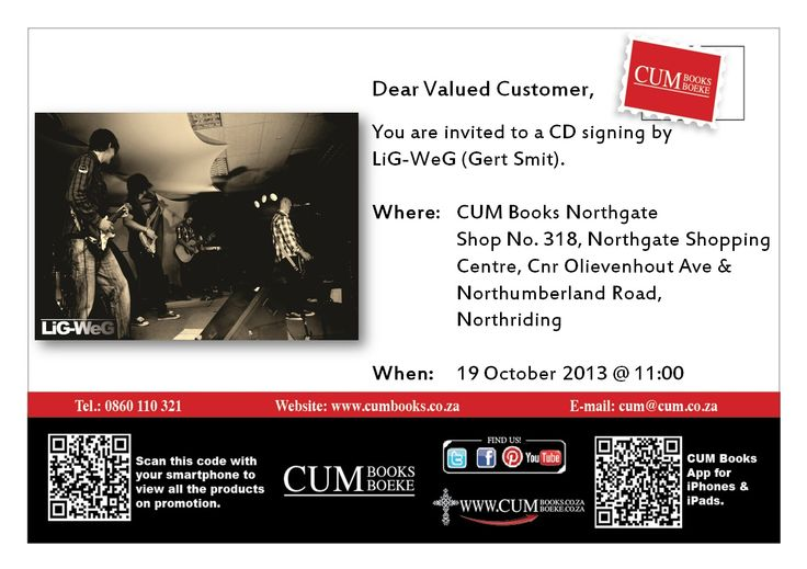LiG-WeG will be signing CDs at CUM Northgate Shopping Center 19 October at 11am. Have your album signed! #Randburg #Music #AlbumSigning
