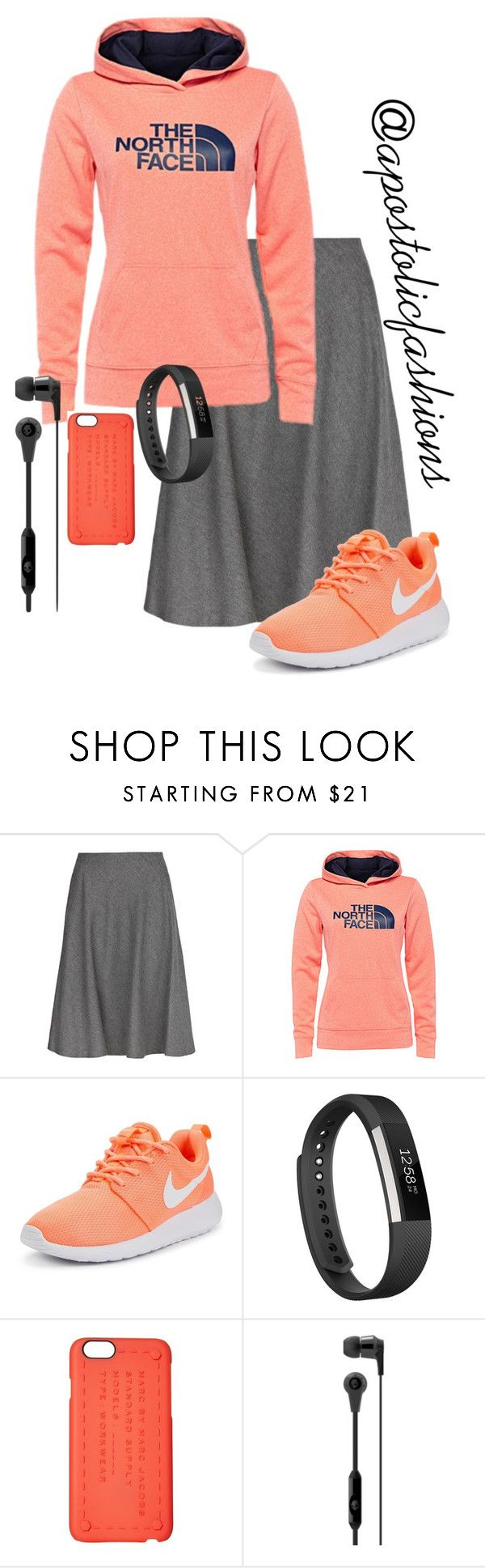 """Apostolic Fashions #1306"" by apostolicfashions on Polyvore featuring MANGO, The North Face, NIKE, Fitbit, Marc by Marc Jacobs and Skullcandy"