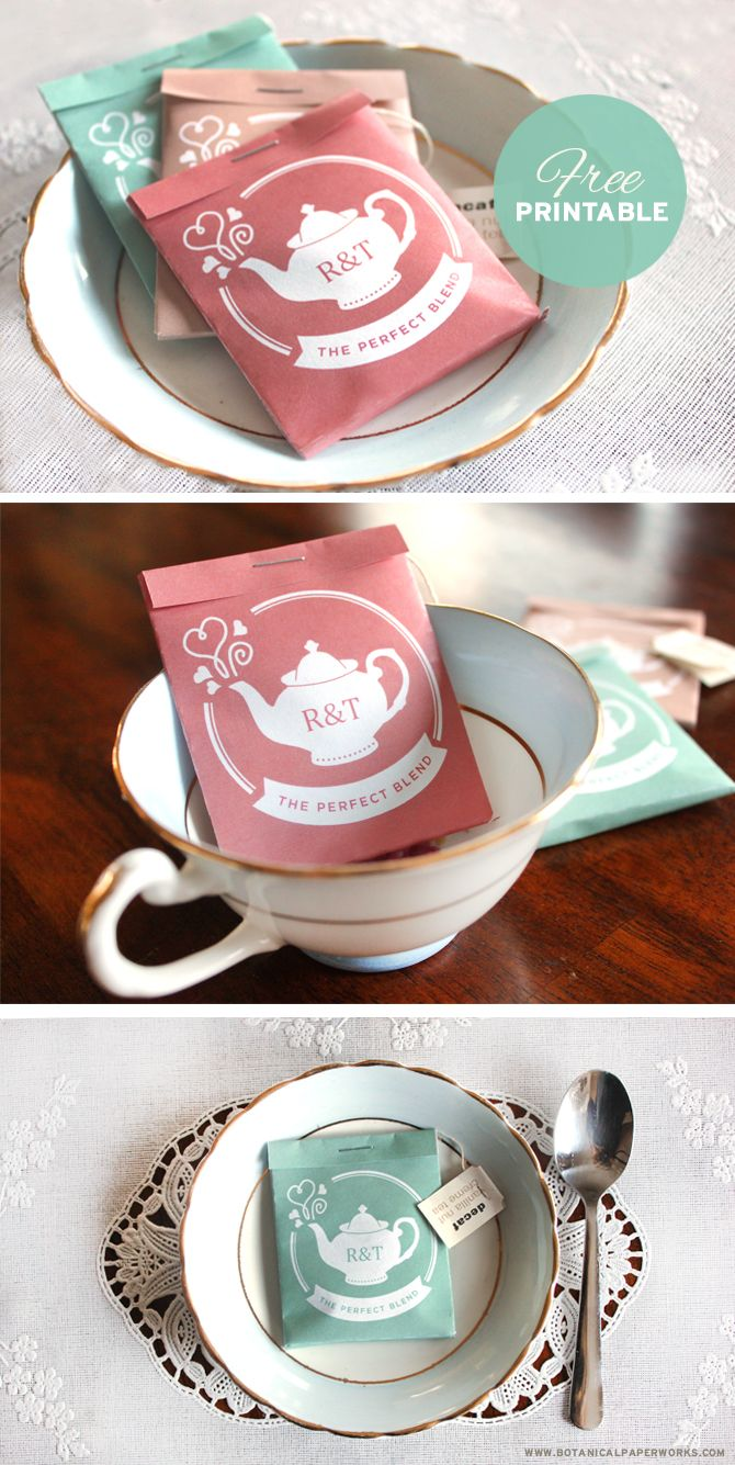 {free printable} Tea Package Wedding Favors
