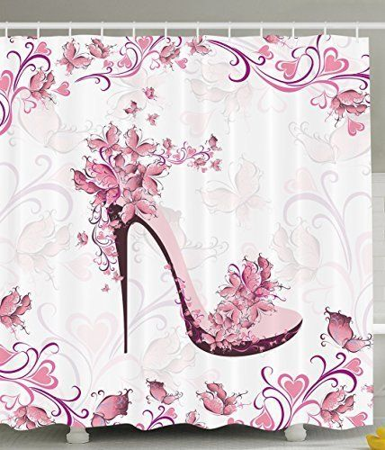 8743705ffac62 Ambesonne Pink and Purple Women Shoes with Roses and Hearts and Flying  Butterflies