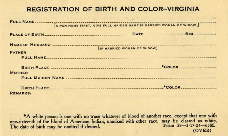racial integrity act of 1924  state legislature of