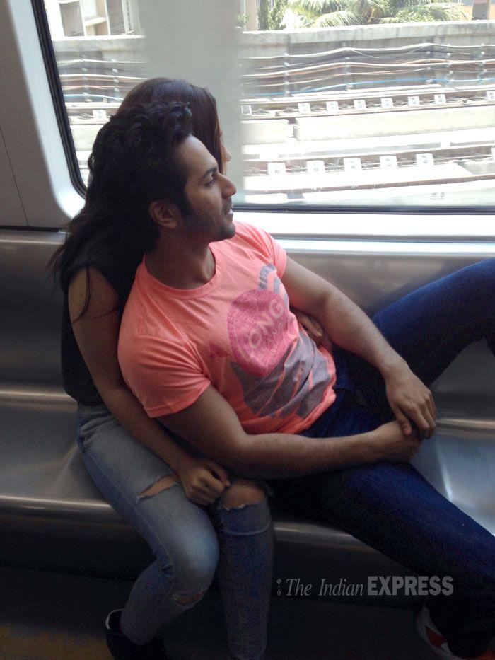 Alia Bhatt and Varun Dhawan taking a ride inside the Mumbai Metro for the promotions of their movie 'Humpty Sharma Ki Dulhania'. #Style #Bollywood #Fashion #Beauty #Handsome