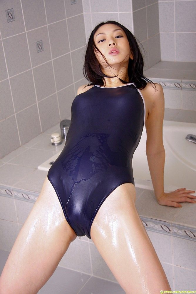Japanese Gravure Idol Yurino Sato In A Wet Navy Blue One