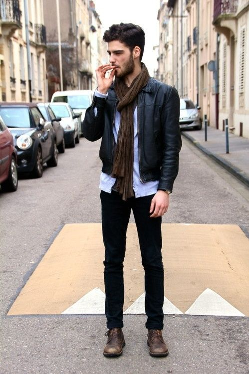 This is what I'm thinking my everyday fall outfit should be like. Boots, dark jeans, a nice jacket, and a killer scarf. I can't wait for cold weather.