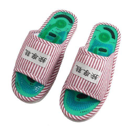 Mejor la Venta de Las Señoras Rayadas Cuidado Médico Del Pie Del Masaje Del Punto de Acupuntura masajeador de pies Relajación Un Par de Interior Zapatos Zapatillas Planas
