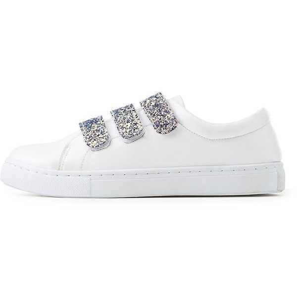 MOIRA Glitter Velcro Strap Sneakers (480 MXN) ❤ liked on Polyvore featuring  shoes,