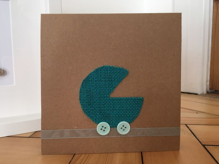 New baby card in blue, hessian pram with button wheels  http://etsy.me/2n9dFX0