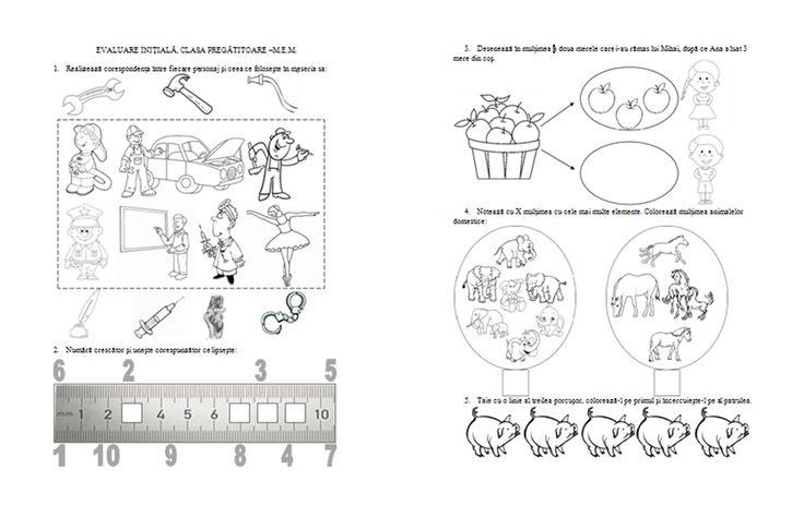 Materiale didactice de 10(zece): Evaluare iniţială, clasa pregătitoare- M.E.M.