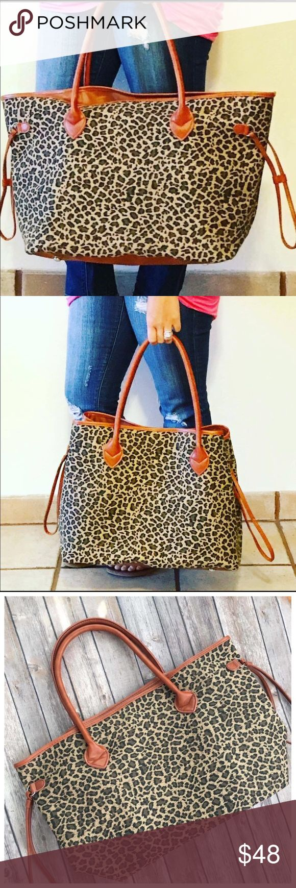 << Large Leopard Print Tote Bag Purse >> The cutest bag for the season! Large enough to carry everything you need! Huge and cute! Snaps on sides as shown in picture two. Big open inside. Bags