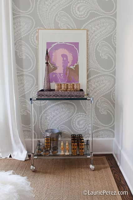 Lucite bar cart - love the print and vintage cocktail glasses... (Modern Luxury Texas)