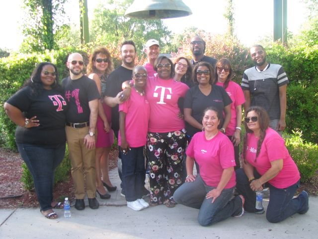 Pictured are T-Mobile volunteers Jered Graham, Kenya Dunn, McKiver Brown, Jim Guglielmo, Mary Day, Monette Calderon, Sheryl Rossi, Ruth Warren, Mark Smoot, Jared Dunbar, Christina Sustaita, Tranae Anderson, Lorena Vega and Corrida Greene.  Thanks for hosting a cookout and games for our kids!