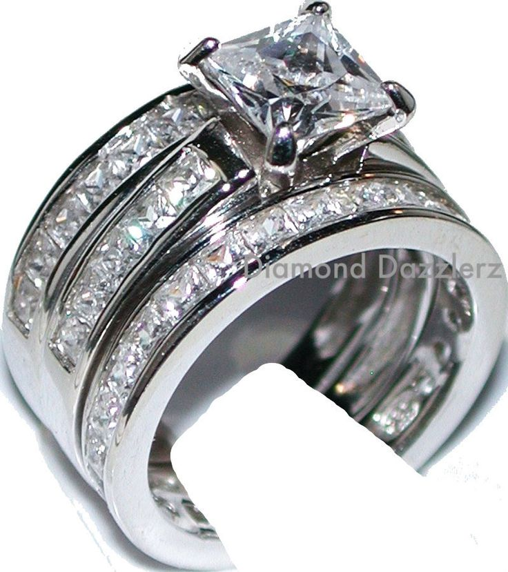 princess cut diamond engagement ring 3 band wedding set 925 sterling silver sz 5 - Sterling Silver Diamond Wedding Rings
