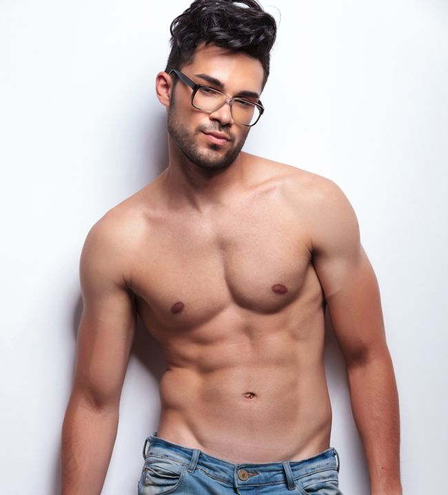 Shirtless Muscle Jock With 6 Pack Abs And Glasses