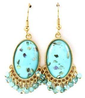 Turquoise Acrylic Paua Shell Chip Faceted Bead Fringe Dangle Earrings Gold Tone