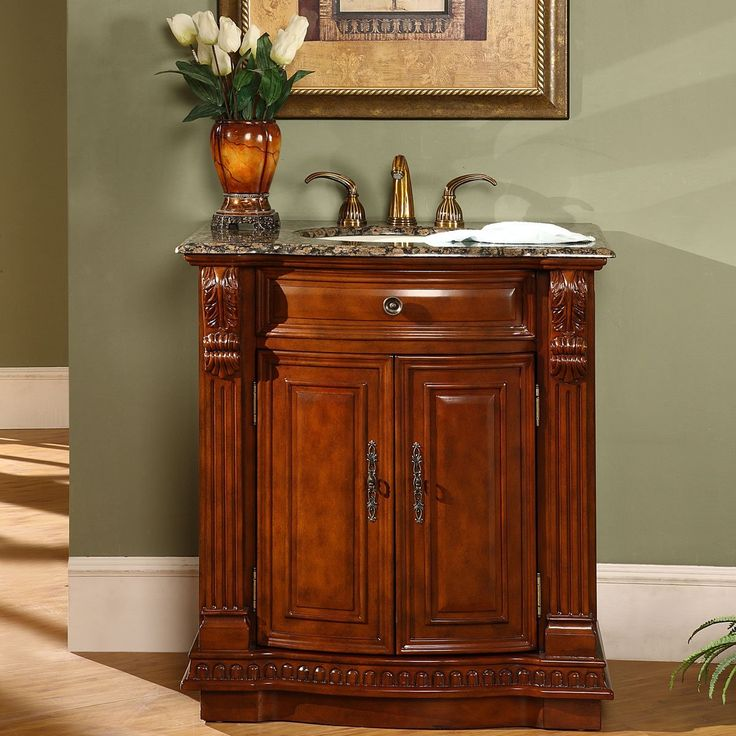 Photo Gallery For Photographers Silkroad Exclusive Granite Stone Top Single Sink Bathroom Vanity with Cherry Finish Cabinet