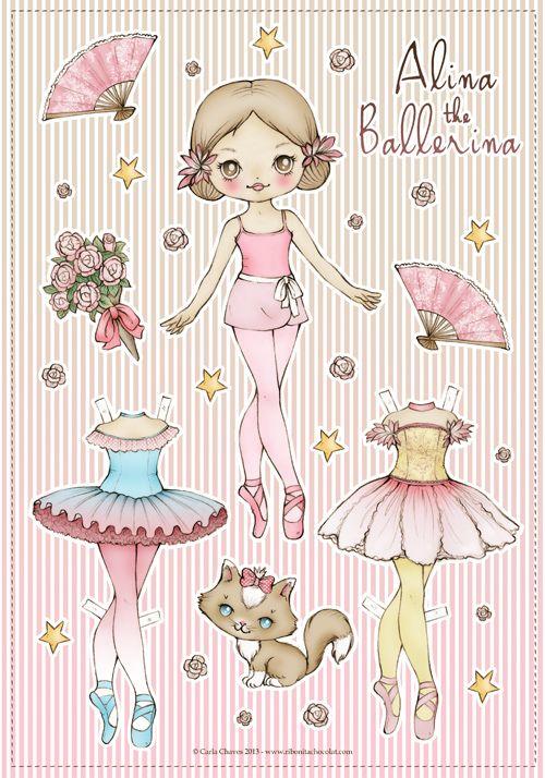 ALINA THE BALLERINA PAPER DOLLS - recortablesmariquitascromostroquelados - Gabitos